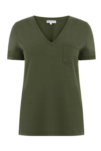 Warehouse, SLUB V NECK TEE Khaki 0
