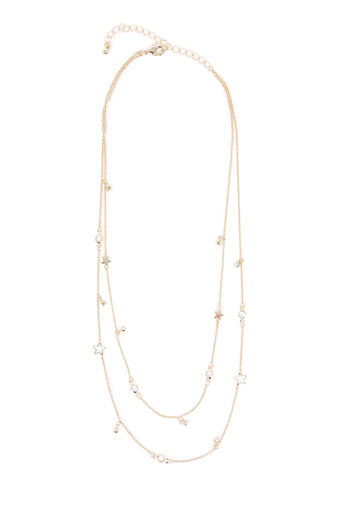 Warehouse, STONE STAR LAYERED NECKLACE Gold Colour 0