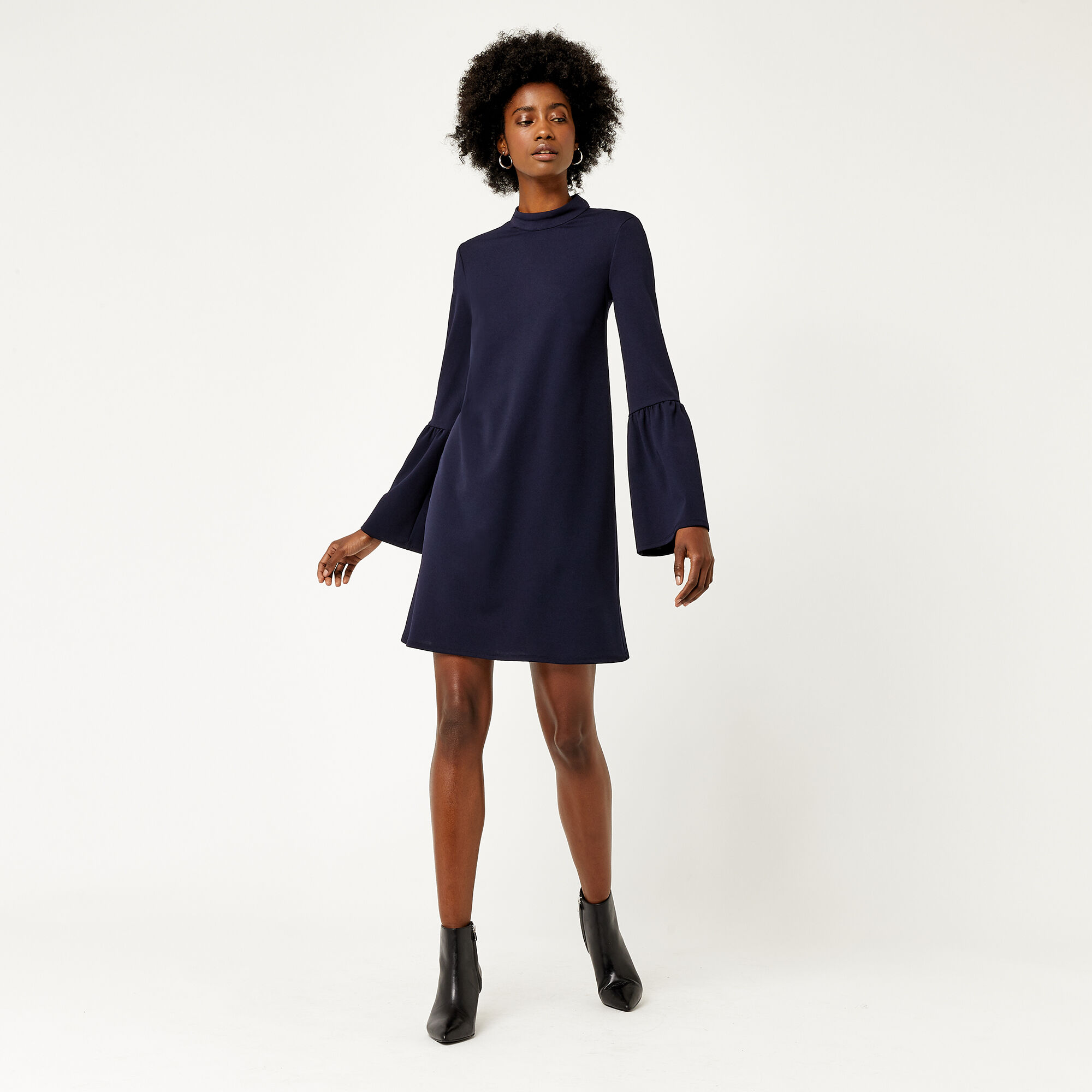 Warehouse, FLUTE SLEEVE CREPE DRESS Navy 1