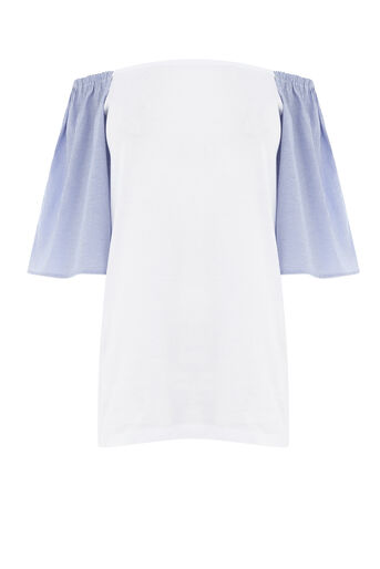 Warehouse, STRIPE WOVEN MIX BARDOT TOP Blue Stripe 0