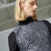 Warehouse, ZEBRA METALLIC SHIFT DRESS Black Pattern 4
