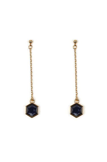 Warehouse, SEMI PRECIOUS HEXAGON EARRINGS Gold Colour 0
