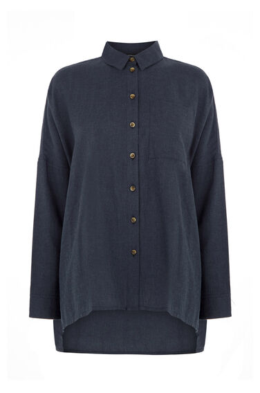 Warehouse, OVERSIZED SQUARE SHIRT Navy 0
