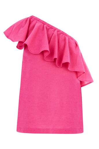 Warehouse, RUFFLE ONE SHOULDER TOP Bright Pink 0