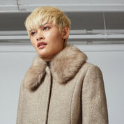 Warehouse, Swing Faux Fur Collar Coat Beige 4