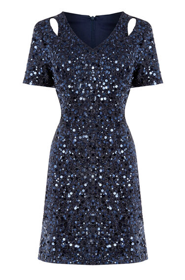 Warehouse, SEQUIN FLIPPY DRESS Navy 0