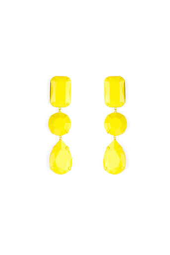Warehouse, OVERSIZED JEWELLED EARRINGS Yellow 0