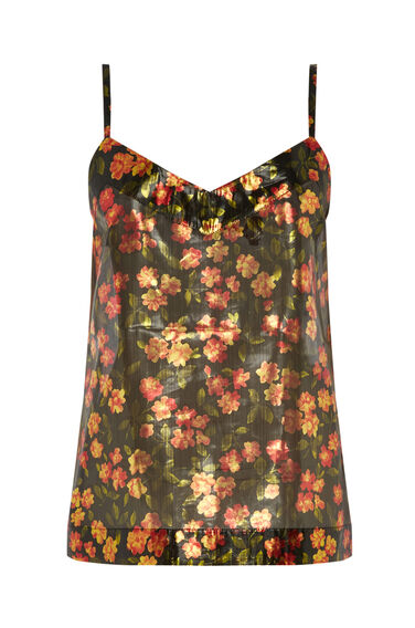 Warehouse, CHERRY BLOSSOM LAME CAMI Gold Colour 0