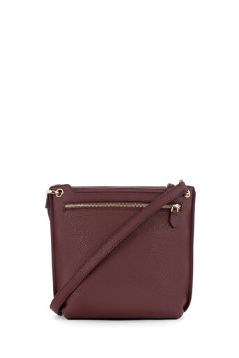 Warehouse, DOUBLE ZIP CROSS BODY BAG Berry 0