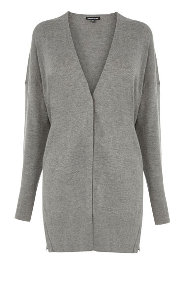 Warehouse, Drawstring Back Cardi Light Grey 0