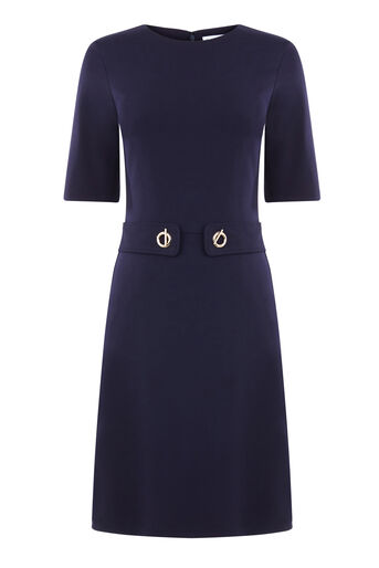Warehouse, BAR PONTE DRESS Navy 0