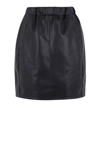 Warehouse, RUCHED FAUX LEATHER SKIRT Black 0