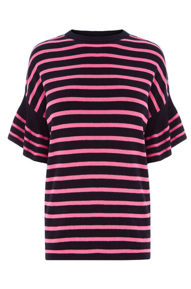 Warehouse, STRIPE FRILL SLEEVE TOP Pink Stripe 0