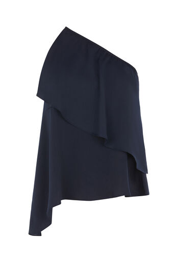 Warehouse, SATIN ASYMMETRIC TOP Navy 0