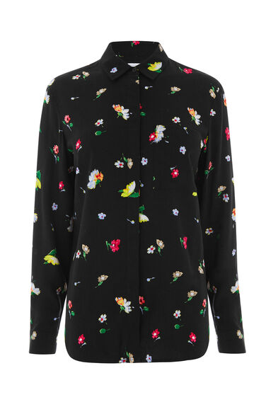 Warehouse, WOODSTOCK FLORAL SHIRT Black Pattern 0