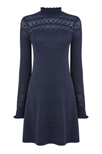 Warehouse, SPARKLE POINTELLE DRESS Navy 0
