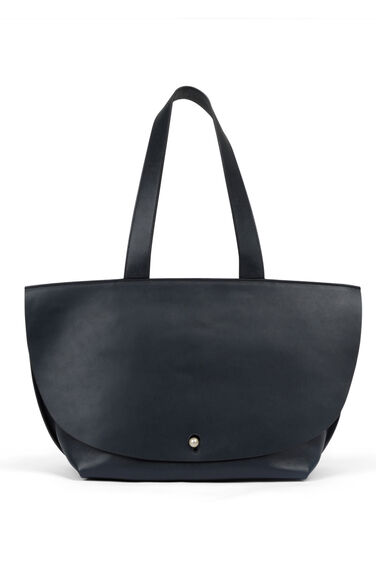 Warehouse, Premium Leather Tote Bag Navy 0