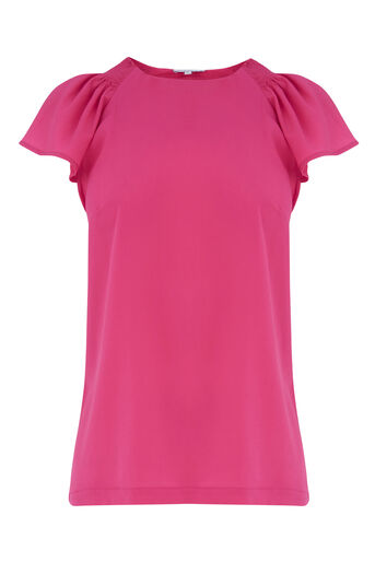 Warehouse, SMOCK DETAIL WOVEN FRONT TOP Bright Pink 0