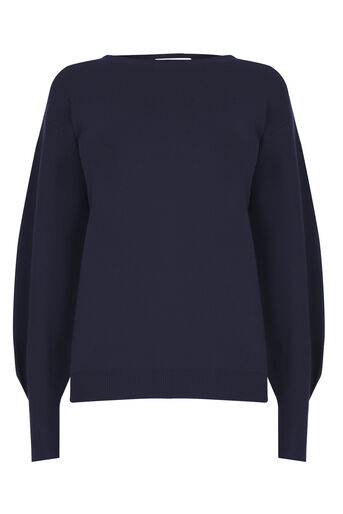 Warehouse, MILANO BLOUSON SLEEVE JUMPER Navy 0