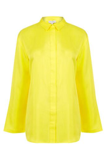 Warehouse, PLAIN SILK BLOUSE Yellow 0