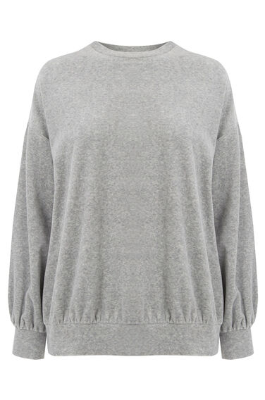 Warehouse, VELOUR SWEATER Light Grey 0