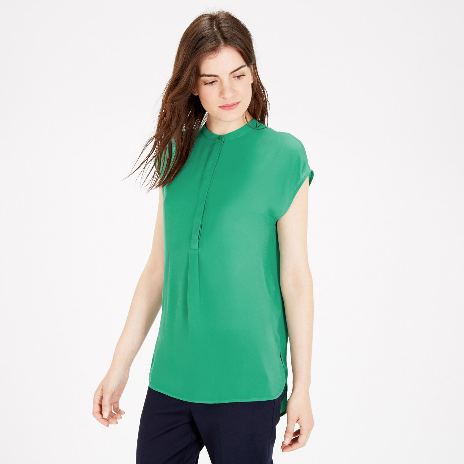 Warehouse, SLEEVELESS PLEAT BACK BLOUSE Bright Green 1