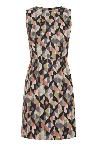 Warehouse, DIAMOND IKAT SHIFT DRESS Pink Pattern 0