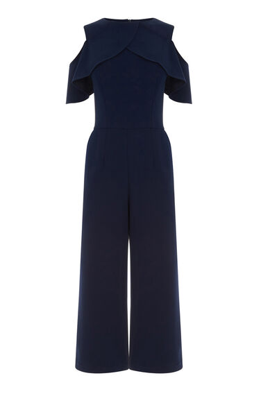Warehouse, CREPE OVERLAY JUMPSUIT Navy 0