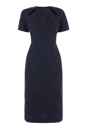 Warehouse, BONDED LACE MIDI DRESS Navy 0