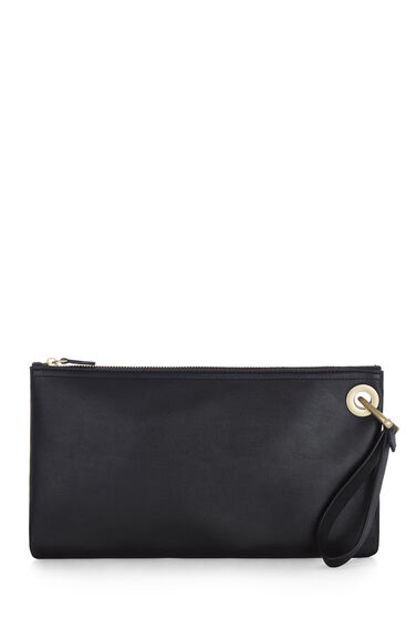 Warehouse, EYELET DETAIL CLUTCH BAG Black 0