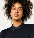 Warehouse, LACE COLLAR JUMPER Navy 4