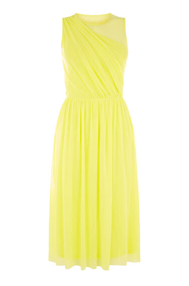Warehouse, OCCASION MESH WRAP DRESS Yellow 0