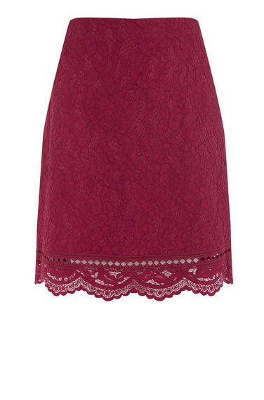 Warehouse, BONDED LACE PELMET SKIRT Bright Red 0