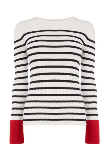 Warehouse, STRIPED RIB BLOCK JUMPER Blue Stripe 0