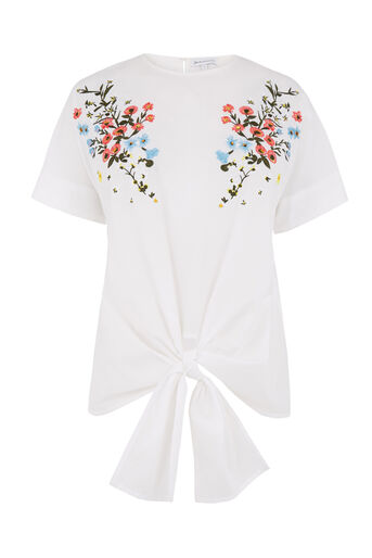 Warehouse, FREIDA EMBROIDERED TIE TOP White 0