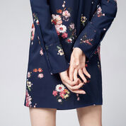 Warehouse, PAINTED FLORAL SHIFT DRESS Blue Pattern 3