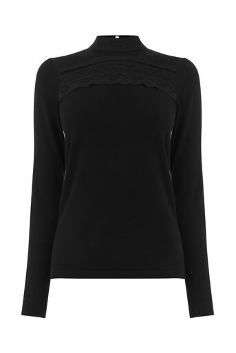 Warehouse, MESH LACE HIGH NECK JUMPER Black 0