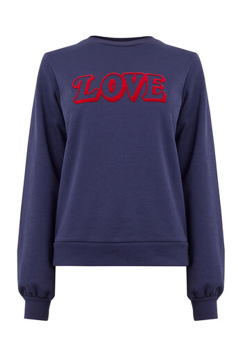 Warehouse, LOVE PUFF SLEEVE SWEAT Navy 0