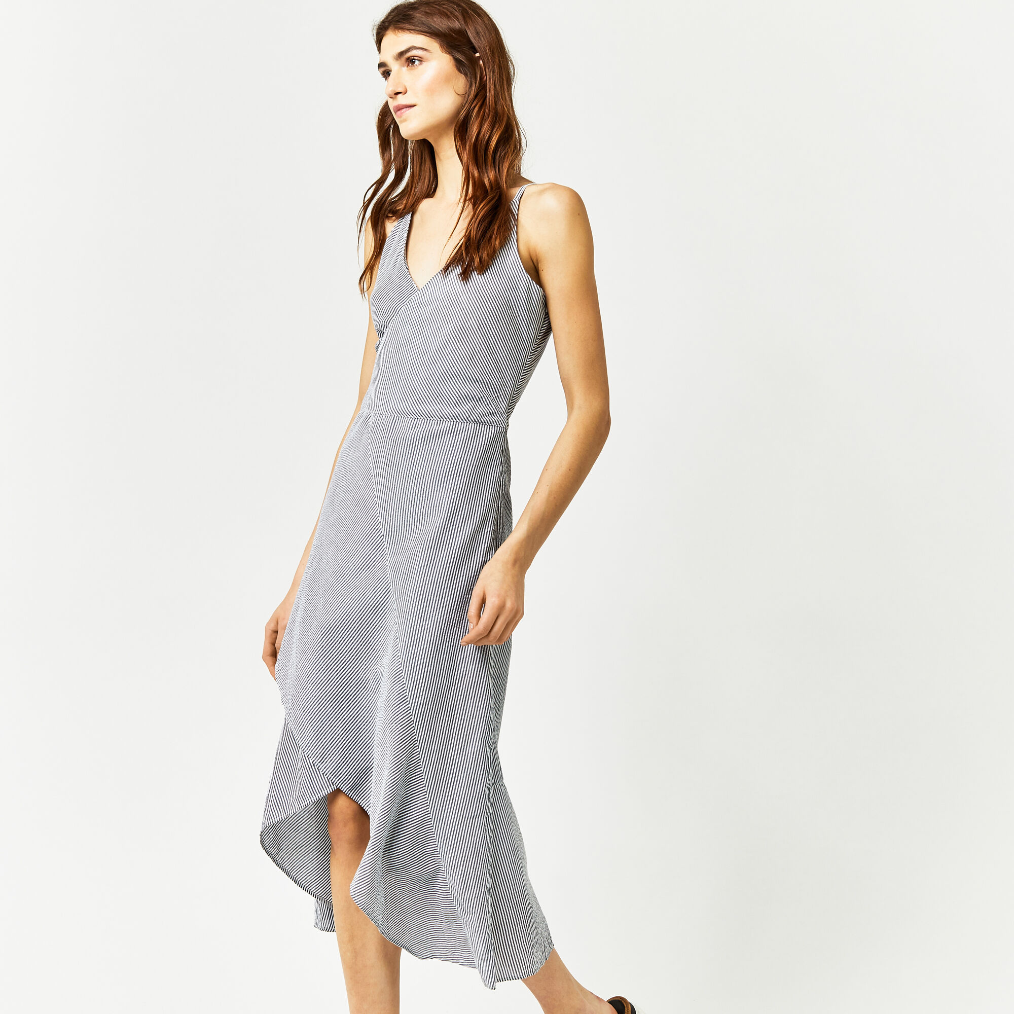 Warehouse, STRIPE RUFFLE MIDI DRESS Grey Stripe 1