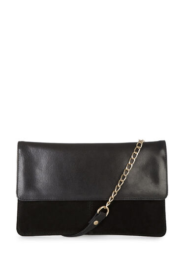 Warehouse, SUEDE & LEATHER CROSS BODY BAG Black 0