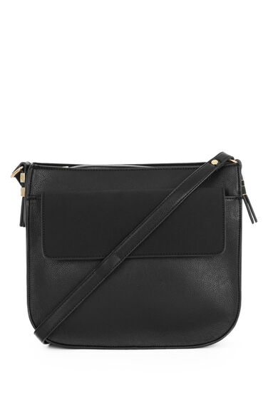 Warehouse, Large Saddle Cross Body Bag Black 0