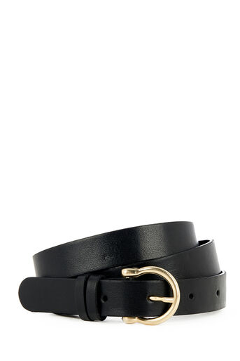 Warehouse, SKINNY METAL KEEPER BELT Black 0