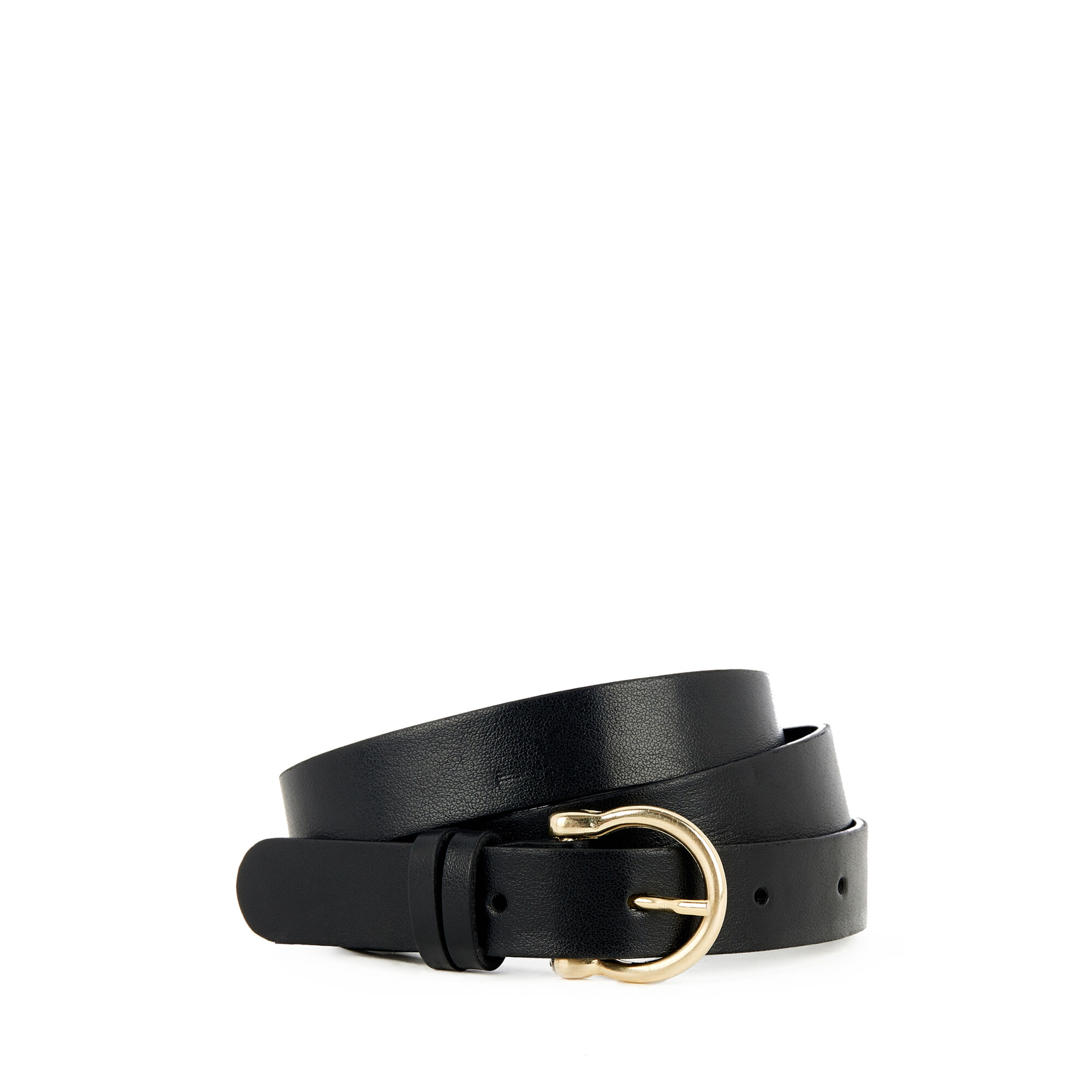 Warehouse, SKINNY METAL KEEPER BELT Black 1