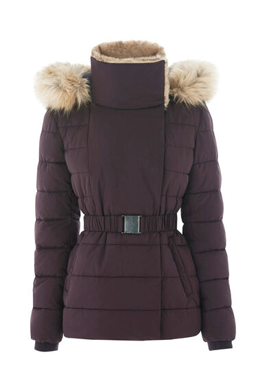 Warehouse, Short Luxe Padded Jacket Dark Red 0