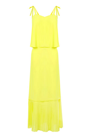 Warehouse, TIE SHOULDER MIDI DRESS Yellow 0
