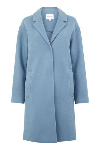 Warehouse, SINGLE BREASTED COCOON COAT Light Blue 0
