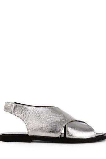 Warehouse, Sandalen met gekruiste voorkant Zilverkleurig 0