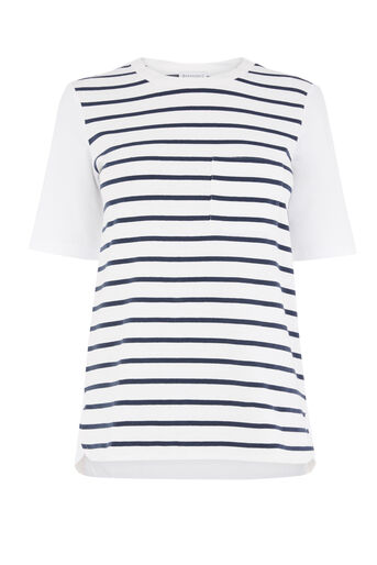Warehouse, COTTON BACK STRIPE POCKET TEE White 0