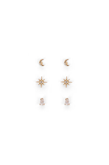 Warehouse, MOONSTAR DIAMANTE EARRING PACK Gold Colour 0