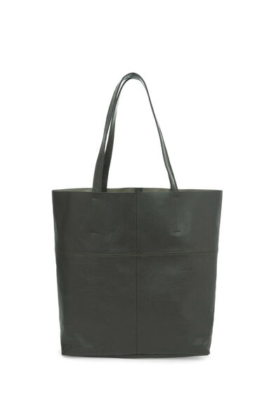 Warehouse, LEATHER UNLINED SHOPPER BAG Khaki 0